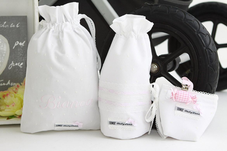 Guantes, manguitos, bolsas para la merienda y muda y toda clase de complementos diseñados por BabyLuna